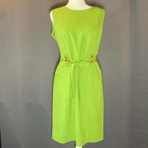 Lime Green Dress with Pockets Tracy Ellen Vintage